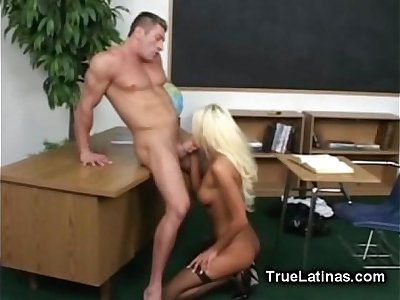 Blonde Latina Fucking in Fishnet