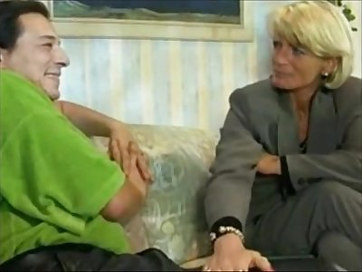 Blonde German Cougar Hot Fuck on Sofa