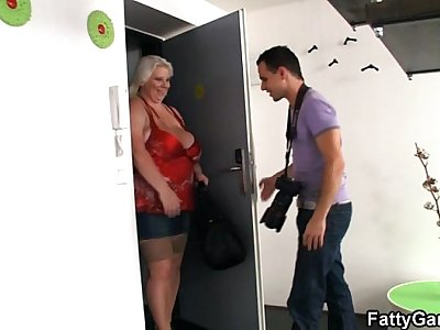 Busty BBW is doggystyled after photosession
