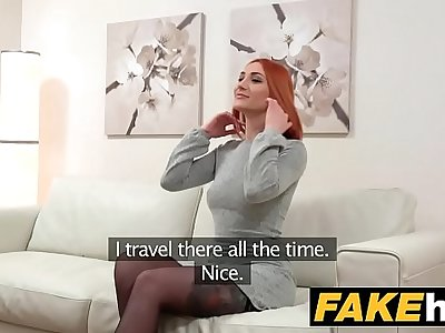 Fake Agent Horny Redhead prefers hard cock over wet cunt