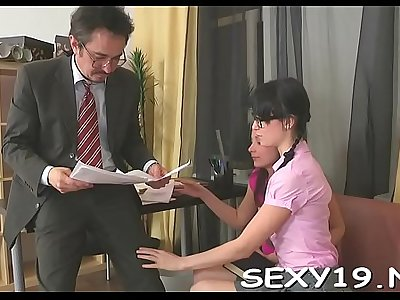Chick is delighting mature teacher with her chaste beaver