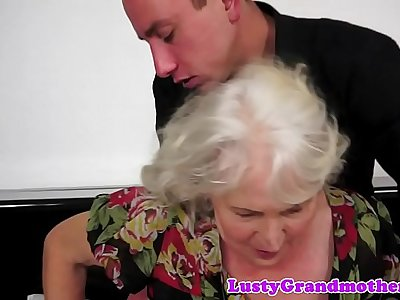 Chubby grandma titfucked and jizzed in mouth