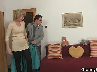 Young guy picks up old blonde and fucks her
