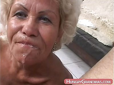 Blonde grandma Ella mouth fucked