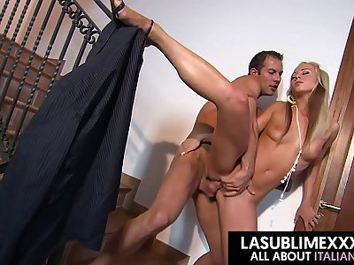 Young blonde fucked on stairs