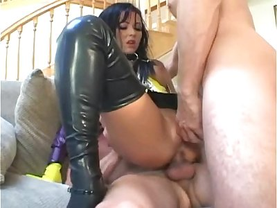 Cockblowers fucking in latex stockings and a corset