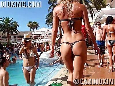 Candid teenager blonde in skimpy sexy thong bikini almost naked