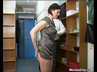British Chick (thieving girl gets spanked by boss)