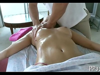 Oil massage and biggest sex contraption