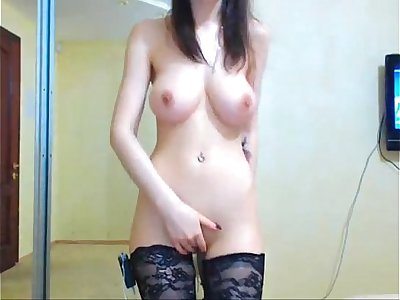 Hot babe touching herself on live web cam