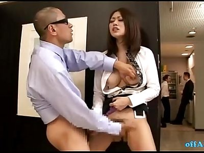 Horny Office Lady Fingered While Standing Jerking Off Man Cock Cum To Legs At Th