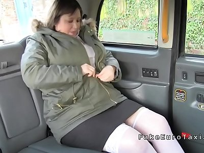 Huge boobs bbw fucking in British fake taxi